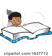 Cartoon Black Girl Reading A Book