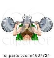 Viking Warrior Woman Weightlifter Lifting Barbell