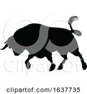 Bull Charging Silhouette