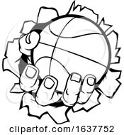 Poster, Art Print Of Basketball Ball Hand Ripping Background