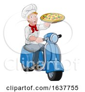 Pizza Delivery Chef Scooter Moped Cartoon Man