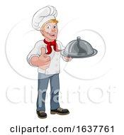 Chef Holding Plate Platter Cartoon