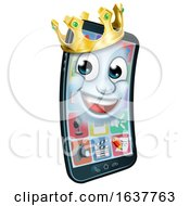 Mobile Phone King Crown Cartoon Mascot