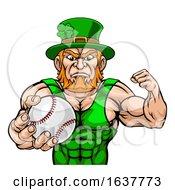 Poster, Art Print Of Leprechaun Holding Baseball Ball Sports Mascot
