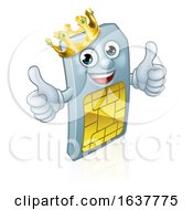 Sim Card Mobile Phone Thumbs Up King Mascot