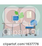 Office Desk Flat Background Interior Cartoon