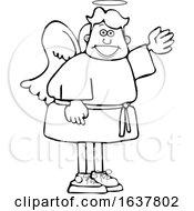 Cartoon Black And White Male Angel Waving Or Presenting