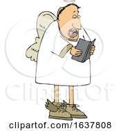 Cartoon White Male Angel Singing