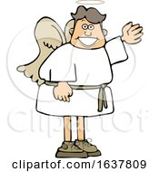 Cartoon Male Angel Waving Or Presenting