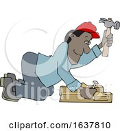 Cartoon Male Carpenter Kneeling And Hammering