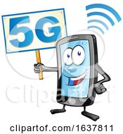 Cartoon Smart Phone Mascot Holding A 5G Sign by Domenico Condello