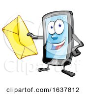 Cartoon Smart Phone Mascot Holding An Envelope by Domenico Condello