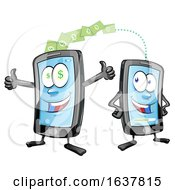 Cartoon Smart Phone Mascots Transferring Money