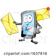 Cartoon Smart Phone Mascot With Envelopes by Domenico Condello