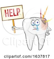 Broken Tooth Character Holding A Help Sign by Domenico Condello