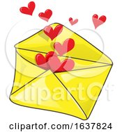 Poster, Art Print Of Yellow Envelope With Hearts