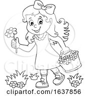 Black And White Girl Picking Flowers