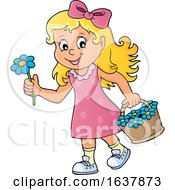 Poster, Art Print Of Girl Picking Flowers
