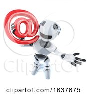3d Funny Cartoon Mechanical Robot Character Holding An Email Adress Symbol On A White Background by Steve Young