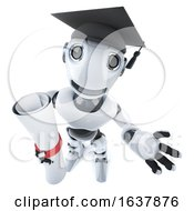 3d Funny Cartoon Robot Character Wearing A Graduate Mortar Board And Holding A Diploma On A White Background by Steve Young