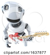 3d Funny Cartoon Robot Character Playing An Electric Guitar On A White Background by Steve Young
