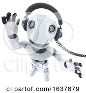 3d Funny Cartoon Robot Character Listening To Some Funky Music On Headphones On A White Background by Steve Young