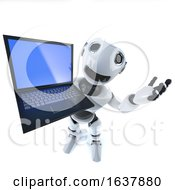 3d Funny Cartoon Robot Character Holding A Laptop Pc Computer Tablet Device On A White Background by Steve Young