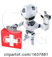 3d Funny Cartoon Robot Character Holding A First Aid Kit On A White Background by Steve Young