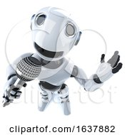 3d Funny Cartoon Robot Character Singing Into A Microphone On A White Background