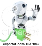 3d Funny Cartoon Robot Character Holding A Green Energy Power Lead On A White Background by Steve Young