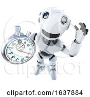 3d Funny Cartoon Robot Character Holding A Stopwatch On A White Background