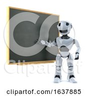 3d Robot Teaches At The Blackboard On A White Background by Steve Young