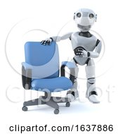 3d Robot Has An Empty Office Chair On A White Background by Steve Young
