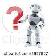 3d Robot Has A Question On A White Background by Steve Young