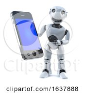 3d Robot Holds A Smartphone Tablet Device On A White Background by Steve Young