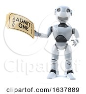 3d Robot Has A Ticket To The Event On A White Background