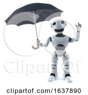 3d Robot Shelters Under An Umbrella On A White Background by Steve Young