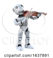 3d Robot Plays The Violin On A White Background by Steve Young