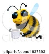 Poster, Art Print Of 3d Tea Break Bee On A White Background
