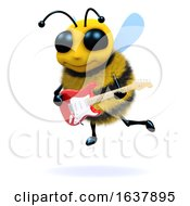 3d Bee Guitarist On A White Background by Steve Young
