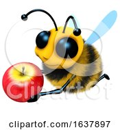 3d Funny Cartoon Honey Bee Character Holding A Juicy Apple On A White Background by Steve Young
