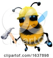 Poster, Art Print Of 3d Funny Cartoon Honey Bee Construction Worker Character Holding A Hammer On A White Background