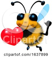 Poster, Art Print Of 3d Funny Cartoon Honey Bee Character Holding A Romantic Red Heart On A White Background
