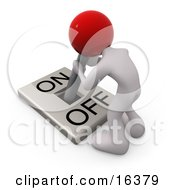 White Person With A Red Head Attached To An OnOff Switch Lever Crouching Over And Struggling To Turn The Switch On Clipart Illustration Graphic