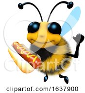 3d Funny Cartoon Honey Bee Character Holding A Hot Dog Snack Food On A White Background by Steve Young