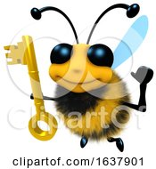 3d Funny Cartoon Honey Bee Character Holding A Gold Key On A White Background by Steve Young