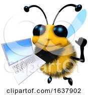 3d Funny Cartoon Honey Bee Character Holding A Laptop Pc Device On A White Background by Steve Young