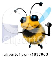 3d Funny Cartoon Honey Bee Character Holding An Envelope Message On A White Background by Steve Young