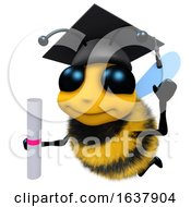 3d Funny Cartoon Honey Bee Character Wearing A Mortar Board And Holding A Diploma On A White Background by Steve Young