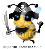 3d Funny Cartoon Honey Bee Character Wearing A Pirates Costume For Fun On A White Background by Steve Young
